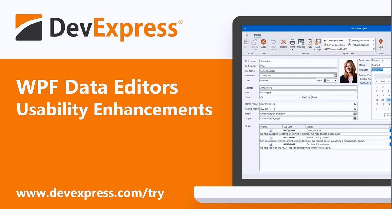 [官方视频]DevExpress WPF v20.1视频:数据编辑器 - 增强可用性