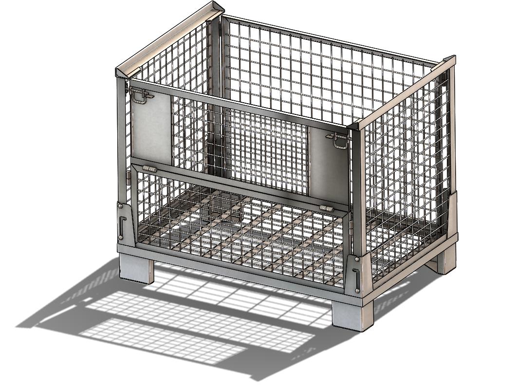 SolidWorks模型免费下载:可折叠网格箱