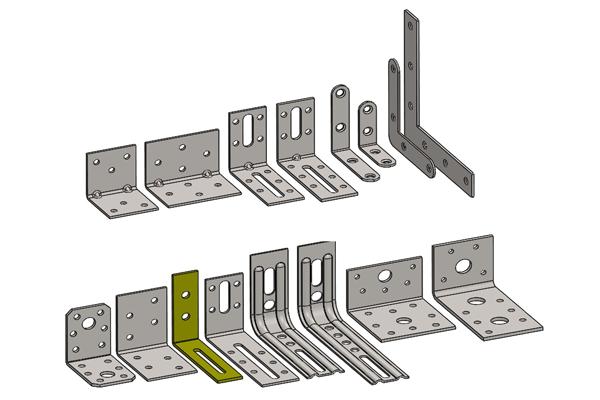 SolidWorks模型免费下载:多种类型的L型支架