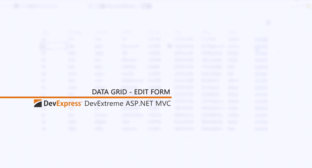 [官方视频教程]DevExtreme ASP.NET MVC:编辑表单