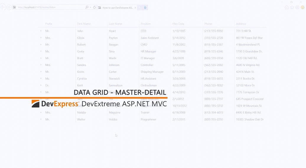 [官方视频教程]DevExtreme ASP.NET MVC:主从网格