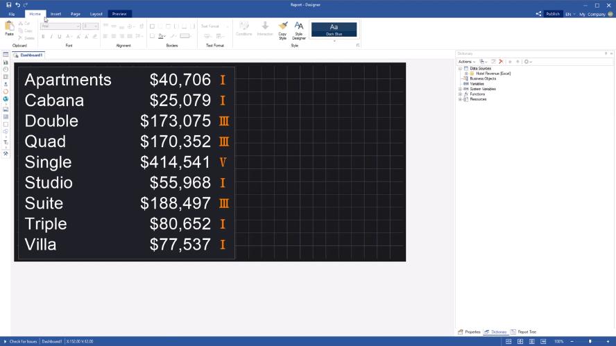 Stimulsoft 分析工具:为指标系列设置图标