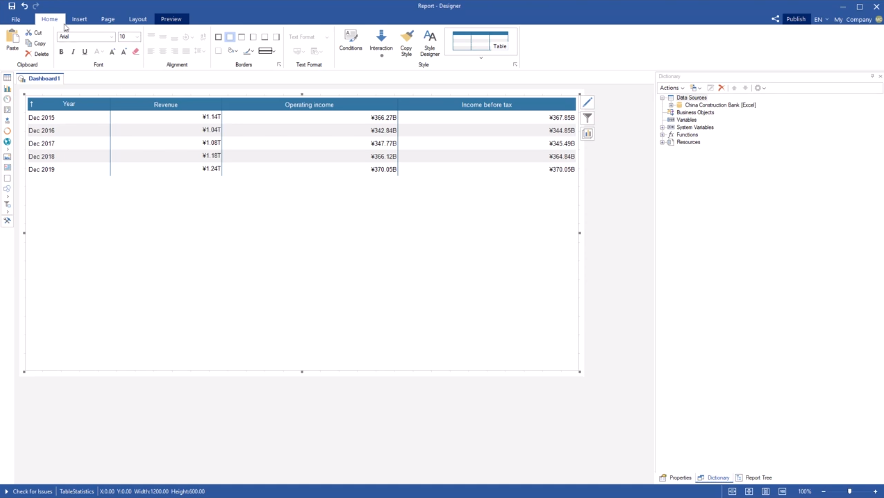 Stimulsoft 仪表板操作教程:如何对齐表格列总数