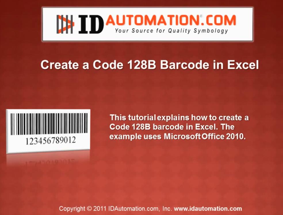 IDAutomation Excel中的条形码字体(五):使用VBA创建代码128 B条形码