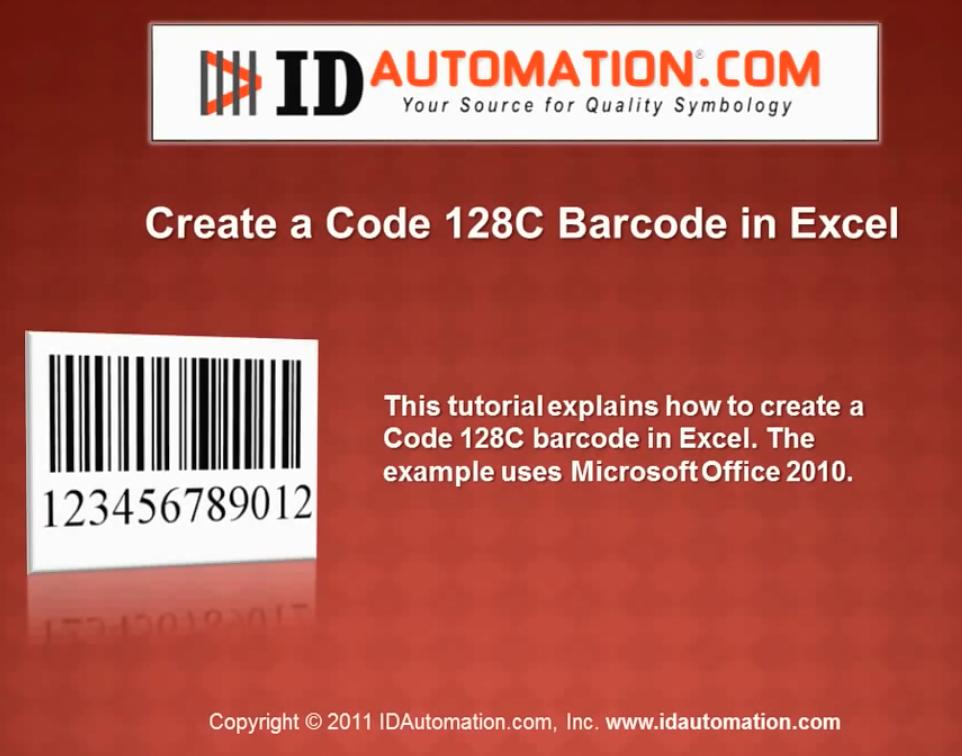 IDAutomation Excel中的条形码字体(六):使用VBA创建代码128 C条形码