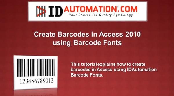 如何在Microsoft Access 2010创建IDAutomation条形码