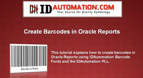 Native Barcode Generator for Oracle Reports视频教程:创建条形码