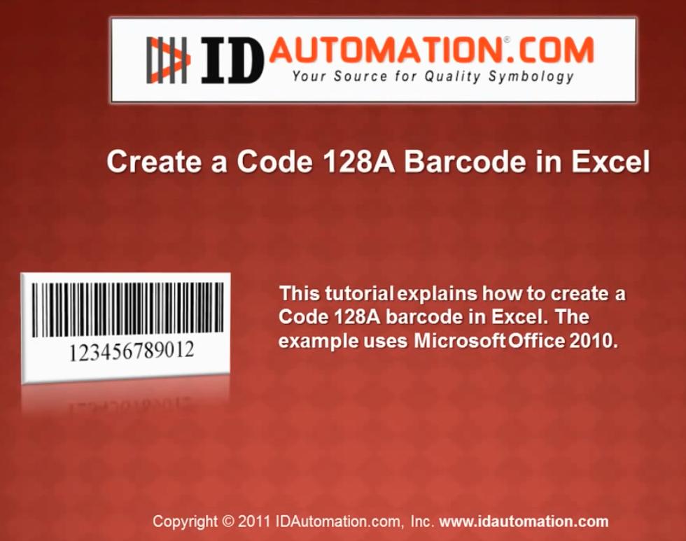 IDAutomation Excel中的条形码字体(四):使用VBA创建代码128 A条形码