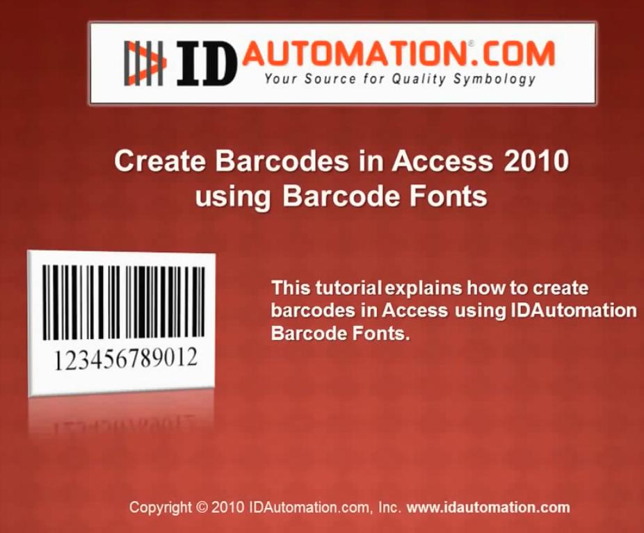 IDAutomation Access中的条形码字体(二):在Access 2010中创建条形码