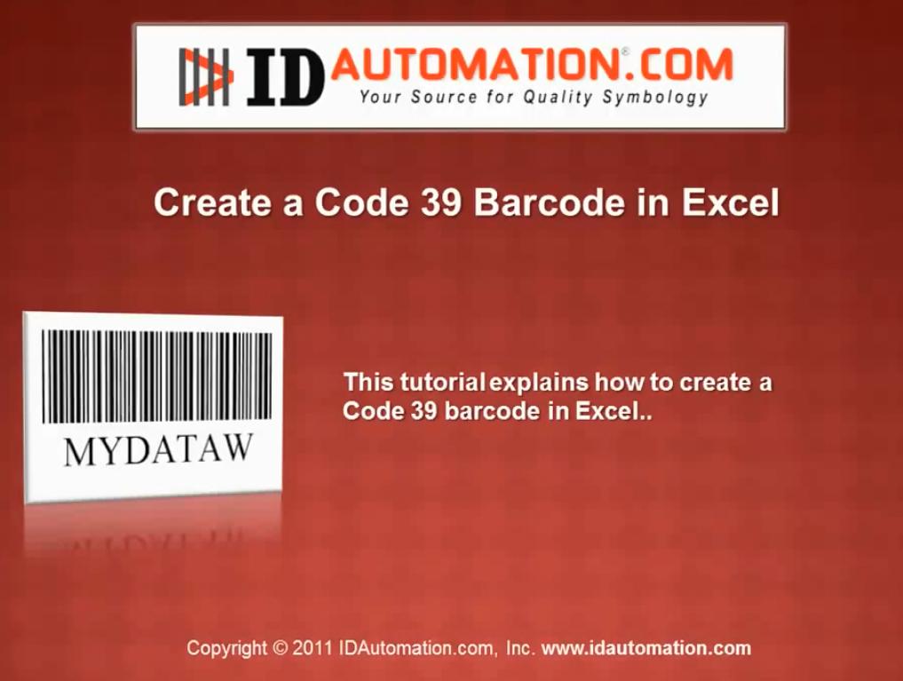 IDAutomation Excel中的条形码字体(三):在Excel中创建Code 39条形码