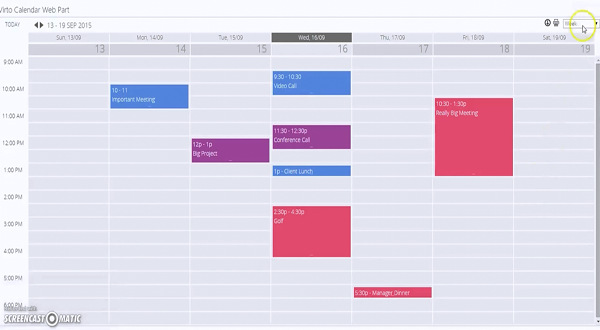 Virto SharePoint 日程表组件介绍