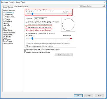 SOLIDWORKS文件大小-保存镶嵌设置