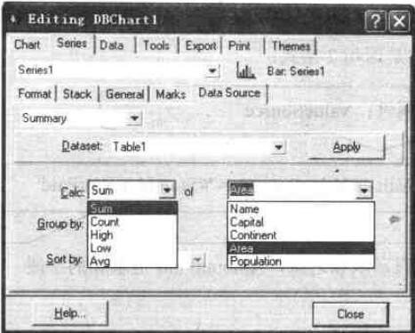 在Data Source选项卡摘要字段和摘要方式