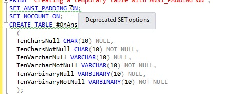 SQL Prompt使用教程:为什么不要创建将ANSI_PADDING设置为OFF的列?