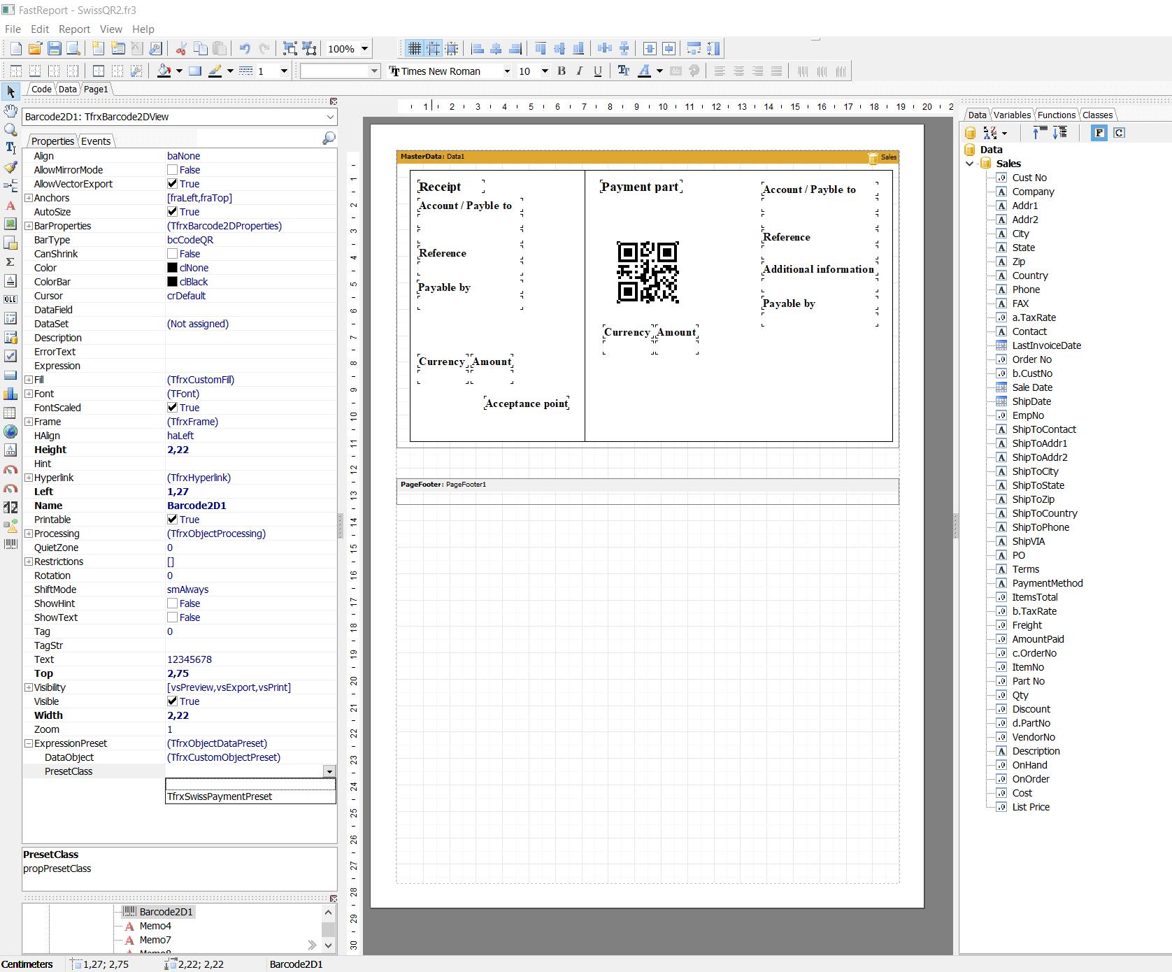 可视化报告生成器FastReport VCL功能指南:在Delphi或Lazarus的账单上制作瑞士QR码