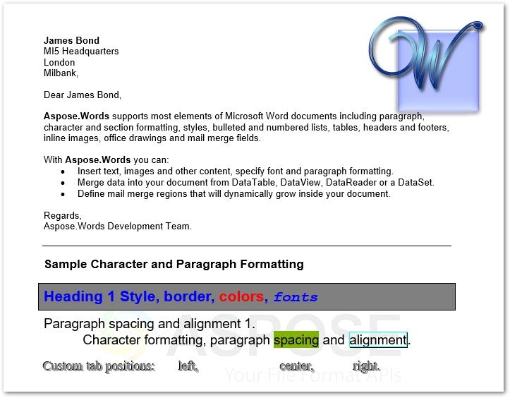 Word处理控件Aspose.Words功能演示:使用C#或VB.NET在Word文档中进行邮件合并