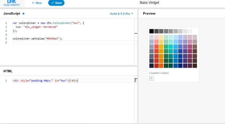 dhtmlxSuite宣布新的DHTMLX代码段工具