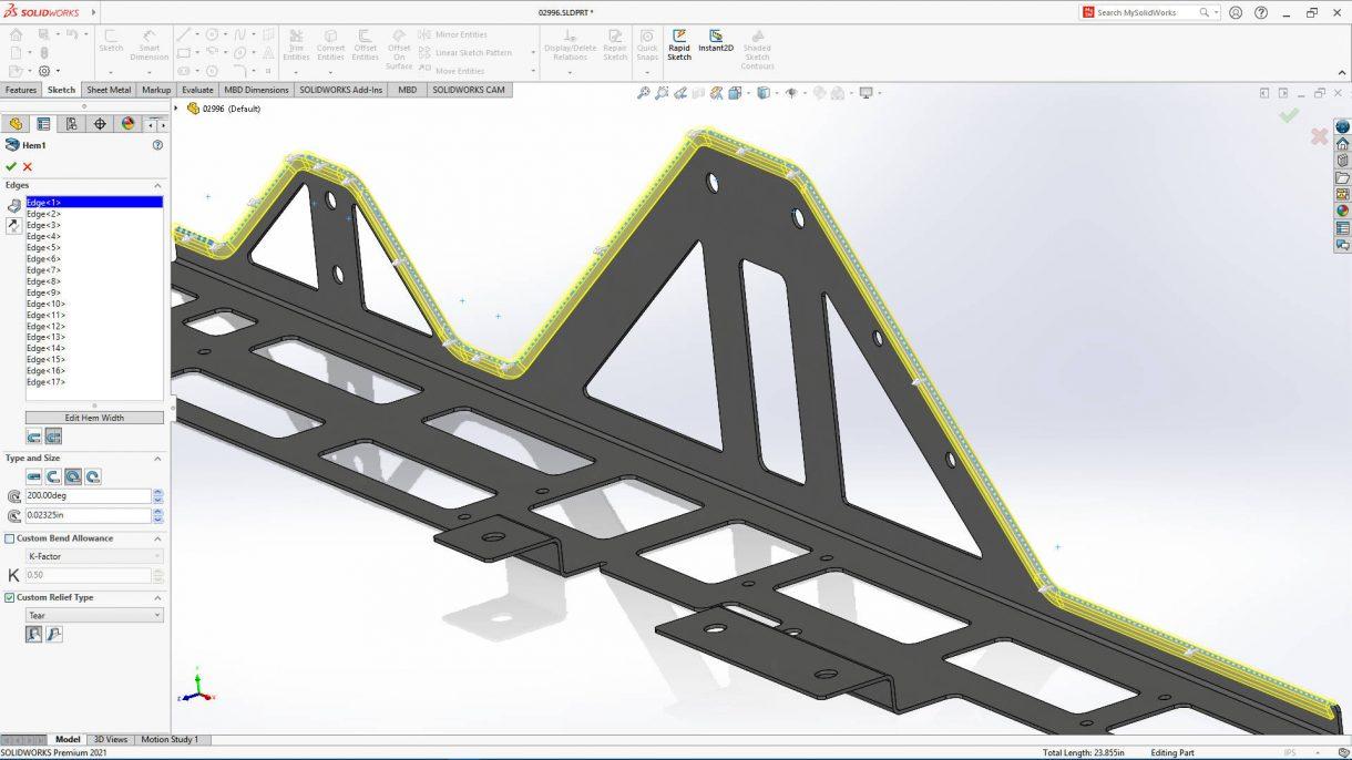 SOLIDWORKS 2021柔性零件设计,具有改进的边缘凸缘