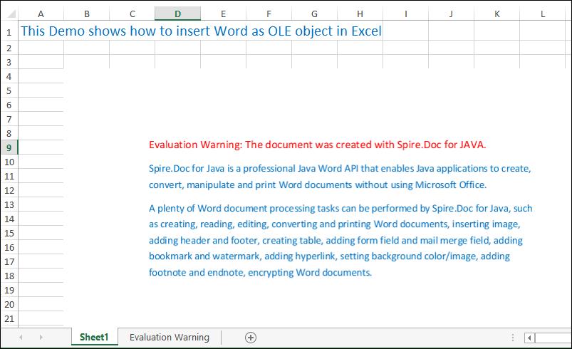 Excel Java组件Spire.XLS教程:在Java应用程序的Excel中插入OLE对象