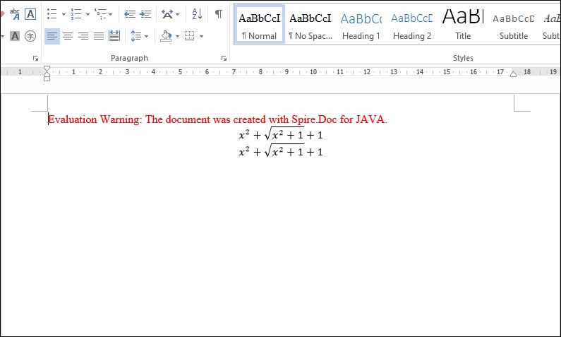 国产Word格式处理控件Spire.Doc功能演示:在Java中以编程方式将数学方程式插入Word