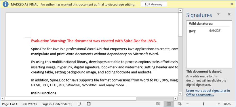 国产Word格式处理控件Spire.Doc功能演示:在 Java 中为 Word 添加数字签名