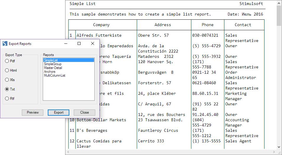 Stimulsoft Reports.Net示例演示:WinForms 类别中从代码导出报告到必要的格式