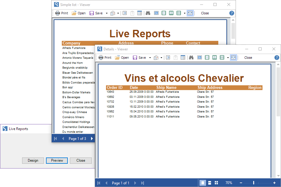 Stimulsoft Reports.Net示例演示:WinForms 类别中实时报告细化
