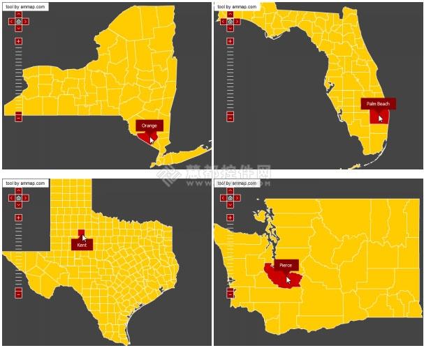 美国地图,amCharts,Javascript Charts,地图控件,amMap