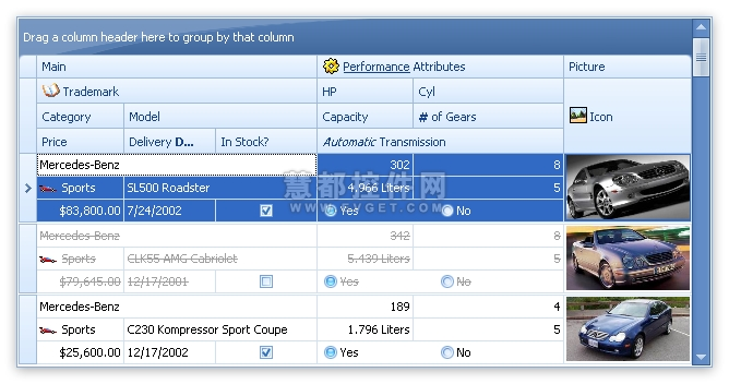 XtraGrid Suite界面预览:WinForms Grid Control - 高级带状区域视图
