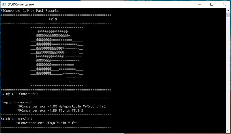 模板转换神器:FRConverter 1.0控制台—命令行批量转换QuickReport 9,ReportBuilder 19,Rave Reports到FastReport VCL 6
