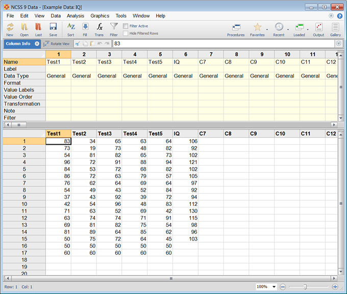 NCSS Data Spreadsheet Window