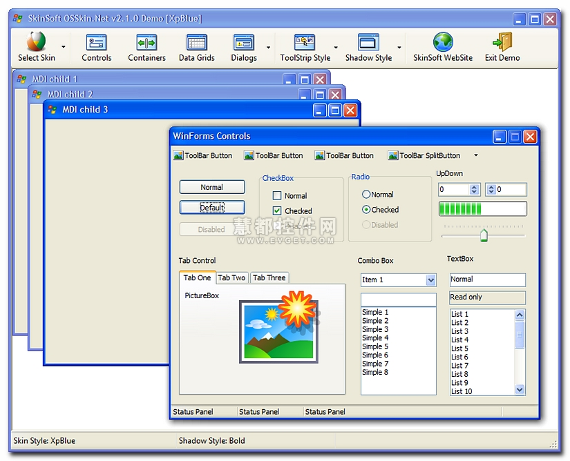 OSSkin.Net for Windows Forms .NET界面预览:皮肤控件OSSkin.Net效果预览