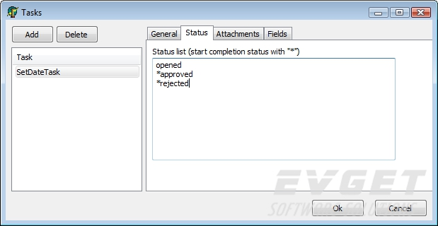 List of valid status for a task